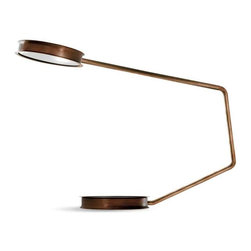 Ceccotti - Ceccotti Ceccotti After Glow Floor Lamp - Floor lamp with tubular stem and light shaded in burnished brass and tempered glass. Price includes delivery to the USA. Manufactured by Ceccotti.