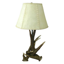 Consigned Antique European Antler Lamp - Captivating European table lamp made from three naturally shed antlers.