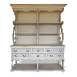 French Country Kitchen Hutch, Bone Distressed - French Country Kitchen Hutch, Bone Distressed