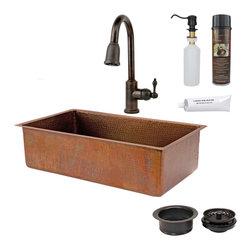 "Premier Copper Products - 33"" Antique Copper Kitchen Sink w/ ORB Faucet - PACKAGE INCLUDES:"