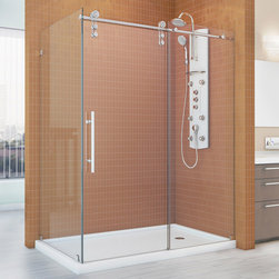 "BathAuthority LLC dba Dreamline - Enigma-Z Fully Frameless Sliding Shower Enclosure, 34 1/2"" D x 48 3/8"" W x 76"" H - The Enigma-Z shower enclosure is the epitome of style, innovation and quality. A sophisticated frameless design and urban styled Stainless Steel hardware combine, creating a stunning shower enclosure that rivals custom glass for an extraordinary value. The impressive 3/8 in. thick tempered glass is treated with dream line exclusive clear glass protective coating for superior protection and easy maintenance. Choose the Enigma-Z shower enclosure for its limitless style and incomparable quality."