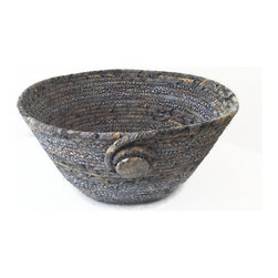 Coiled Fabric Bowls - Handmade coiled fabric basket. Made with cord, and cotton batik fabric in shades of silver and grey, with just a hint of gold. Finished with a stone bead. Sewn with grey thread.