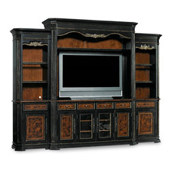 """Hooker Furniture - Grandover Home Theater 4 Piece Group - White glove, in-home delivery included! Furniture assembly included!  Grandover is a high-drama European traditional collection updated for today with a modern outlook and functional details.  A striking two-tone finish of exotic elegance combines hardwood solids with Golden Madrone Burl, Walnut, Cherry, Maple and Birch veneers, bordered by black handpainting and subtle, handrubbed gold accents for an aged and acquired look.  Consists of: Entertainment Console, Left and Right Piers and Entertainment Console Hutch  Entertainment Console - Four drawers, two outside doors with two adjustable shelves behind, one three plug outlet.  70 3/4"""" w x 22 1/4"""" d x 36 1/4"""" h.  Left Pier - One adjustable wood-framed glass shelf, one adjustable shelf, one drawer, one door with two adjustable shelves behind, one light controlled by a three-intensity touch switch.  26 1/2"""" w x 19 1/2"""" d x 88 1/4"""" h.  Right Pier - One adjustable wood-framed glass shelf, one adjustable shelf, one drawer, one door with two adjustable shelves behind, one light controlled by a three-intensity touch switch.  26 1/2"""" w x 19 1/2"""" d x 88 1/4"""" h  Entertainment Console Hutch - One adjustable shelf, two lights controlled by a three intensity touch switch 73"""" w x 23 1/4"""" d x 59 3/4"""" h.  TV area inside end panels to useable front of console and top of hutch: 67 1/4"""" w x 19 5/8"""" d x 52 1/4"""" h.  Shelf height settings above console: 35 1/4"""" h, 37 3/4"""" h, 42 3/4"""" h, 45 1/4"""" h"""