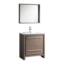 "Fresca - Fresca Allier 24"" Gray Oak Modern Bathroom Vanity w/ Mirror, Gray Oak, 30"" - Fresca Allier 30"" Gray Oak Modern Bathroom Vanity w/ Mirror"