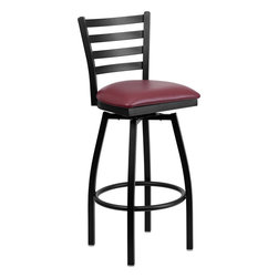 Flash Furniture - Flash Furniture Hercules Series Black Ladder Back Swivel Metal Barstool - Burgun - Black Ladder Back Swivel Metal Barstool - Burgundy Vinyl Seat - XU-6F8B-LADSWVL-BURV-GG belongs to Hercules Series Collection by Flash Furniture This stylish swivel bar stool will compliment any Home, Restaurant, Lounge or Bar. The 360 degree swivel seat allows you to swing around effortlessly. The comfortably padded seat will keep you and your guests comfortable and is easy to clean. The heavy duty frame makes this stool perfect for commercial or home usage. This attractive stool will add to your casual or elegant setting. [XU-6F8B-LADSWVL-BURV-GG]  Barstool (1)