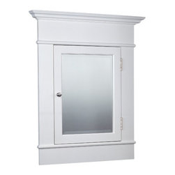 Large White Recessed Medicine Cabinet with Beveled Mirror -