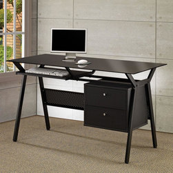 Coaster - Black Casual Desk - Black powder coated metal and black glass computer desk with two storage drawers.