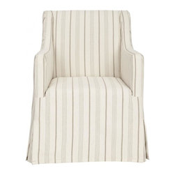 Safavieh - Hudson Accent Chair - From shabby-chic to chic sophistication, the neatly tailored Hudson slipcover chair is covered in an over scale mattress ticking stripe in beige and cream linen. Gently sloping arms and invisible birch wood legs with java finish insure seating comfort. Detailed with front and back kick pleats, Hudson is designed for transitional and traditional interiors.