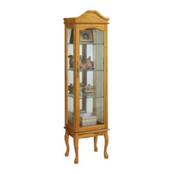 "Coaster - Curio Cabinet (Oak) By Coaster - The Lady Elizabeth Oak Curio Cabinet is a delightful piece adorned with cabriole legs and arched top. A simple Oak finish with glass shelving, sides and front door. A great way to display your collectibles with charm. Dimensions:11 3/4""W x 15 3/4""D x 64""H Some assembly may be required. Please see product details."