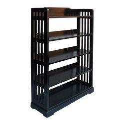 "Golden Lotus - Black Lacquer Simple 5 Shelves Display Bookcase - Dimensions:  w35.5"" x d11.5"" x h50"""