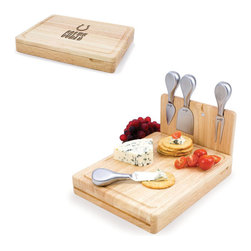 Picnic Time - Indianapolis Colts Asiago Folding Cutting Board With Tools in Natural Wood - The Asiago is a folding cutting board with tools that is another Picnic Time original design. This compact, fully-contained split-level cutting board is made of eco-friendly rubberwood. Lift up the top level of the board to reveal four brushed stainless steel cheese tools: a pointed-tipped cheese knife, cheese fork, cheese chisel knife, and blunt nosed hard cheese knife. The tools are magnetically secured to a wooden strip that lifts up so you can close the cutting board and display the tools. Designed with convenience in mind, the Asiago is great for home or anywhere the party takes you.; Decoration: Engraved; Includes: 4 brushed stainless steel cheese tools (1 pointed-tipped hard cheese knife, cheese fork, cheese chisel knife, and blunt nosed soft cheese knife