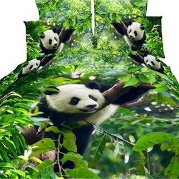 Dolce Mela - Girls Bedding Luxury Modern Queen Duvet Cover Set Dolce Mela DM434Q - Decorate with this fun animal theme bedding featuring adorable pandas printed with vivid colors and infuse your boys and girls bedroom or dorm decor.