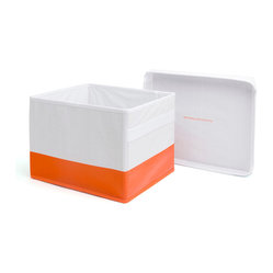 Poppin - Storage Box, White/Orange - Wait a minute; hold everything. This storage box and lid feature a label window for easy ID, fold flat, come in bright orange and white, hold 25 pounds and are covered in easy-to-clean plastic. What more could you ask for? Oh, yeah, it's sized to fit both legal and letter hanging files.