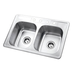 Kingston Brass - Gourmetier Self-Rimming Double Bowl Kitchen Sink Satin Nickel GKTD33227 - The self-rimming kitchen sink features two square-shaped basins and four drilled holes built in superior quality stainless steel for durability and a long-lasting experience.Manufacturer: Kingston BrassModel: GKTD33227UPC: 663370136061Product Name: Gourmetier GKTD33227 Self-Rimming Double Bowl Kitchen Sink, Satin NickelCollection / Series: StudioFinish: Stainless SteelTheme: N/AMaterial: Stainless SteelType: Kitchen SinksFeatures: 304 Grade Stainless Steel. resist from chips and scratches