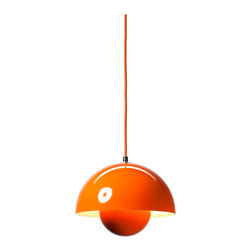 andTradition - VP1 FlowerPot Pendant Lamp, Orange - When it comes to spheres of influence in the design world, it's hard to outshine Verner Panton, one of the icons of midcentury modern design. This Panton pendant light gets its retro shape from two hemispheres of steel coated in a range of glossy colors and finishes.