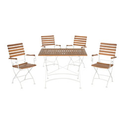 Safavieh - Lawndale Outdoor Dining Set, Teak Look  And  White - Evoking picnics in the park, the Lawndale outdoor dining set transforms a backyard in grand resort style. This classic design is crafted of acacia wood in teak brown with curved white steel legs that fold and are reminiscent of alfresco bistro furniture.