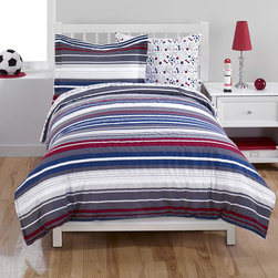 None - Blue/Red Stripe 2-piece Comforter Set - Add a dash of durable, machine washable style to any child's bedroom with this striped kids' bedding. Crafted with a plush fabric, this comforter and sham set comes in both full and twin sizes.