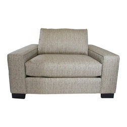 Apt2B - Melrose Wide Arm Chair, Straw, 45x39x27 - Squatting low and deep, with wide arms and thick cushions, this armchair invites you to kick back — way back. The sturdy, square design and textured neutral upholstery will make sure you look as dignified as possible while you do.