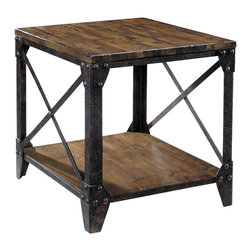 Magnussen - Magnussen Pinebrook End Table in Distressed Pine - Magnussen - End Tables - T175503 - This rectangular end table will add a fun and versatile touch to your artsy studio space or urban loft. It makes for a suitable accessory for your living room or bedroom. Stack your favorite books or magazines and maybe even a rustic lamp and you are all set for a peaceful evening. This table is crafted from pinewood with a rustic finish. A rivet-edged metal frame completes the design in style. The legs are fitted with sturdy metal casters for easy mobility.