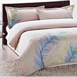 Embroidered Peacock King-Size 3-Piece Duvet Cover Set - Peacock feathers are so in style, and this is just a hint of the trend.