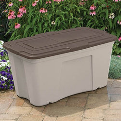 Suncast - Suncast B501824 50 gal. Outdoor Storage Bin - 3 Pack Multicolor - B501824 - Shop for Sheds and Storage from Hayneedle.com! Store your outdoor furniture accessories in the 50-gal. Outdoor Storage Bin and you can relax knowing they're fully protected. This storage bin is made from durable resin in a light taupe color topped with a mocha brown lid. It can hold a wide variety of items with a capacity of 50 gallons. The storage bin has a stay-dry design to keep your outdoor accessories safe from the elements and it is easy to move on the built-in rollers. Dimensions: 39.5W x 23.5D x 20.5H inches.About Suncast Corporation:Suncast is known for its high-quality low-maintenance storage products and accessories. Organize gardens back yards garages basements and more. Suncast's full line of products includes everything from storage lockers to sheds and bins. Suncast pieces are designed for low-maintenance worry-free performance that's versatile enough to suit your every need.