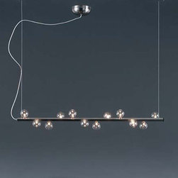 Harco Loor - Harco Loor | Track Zig Zag HL 12 Linear Suspension Light - Made in The Netherlands by Harco Loor Design.The Track Zig Zag HL 12 Linear Suspension Light is a sleek modern fixture featuring a zig-zagging line of glass spheres. Track Zig Zag features a stainless steel rod with delicate glass bubbles perched on top almost as if they landed there after a child blew them into existence. This Linear Suspension Light is perfect for hanging over a dining room table or conference table. Provides ambient light. Made of stainless steel and glass.