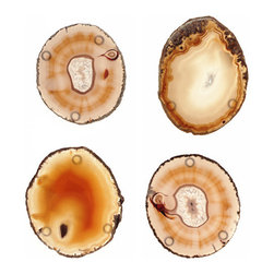 "RabLabs - RabLabs Pedra Natural Coaster Set of 4 - The RabLabs Pedra coasters marry ancient agate with a pop of contemporary color. Natural brown swirls decorate the round drink accessories for statement-making allure. 4.5"" Dia; Hand-polished; Ancient agate; Protective rubber feed; Assembled in the USA; Set of four; Due to natural stone, product varies and may not be exactly as shown"