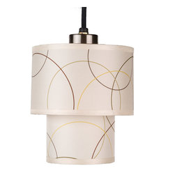 Lights Up! - Deco Mini Pendant Lamp - A mini pendant lamp is perfect for illuminating dark corners, hallways or even a powder room. The silk double-drum shades provide a subtle pattern of overlapping circles in a neutral palette — making it a breeze to design around. It's a stylish choice for your contemporary home.\