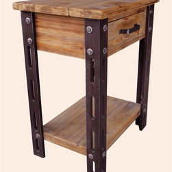International Caravan - 1-Drawer Side Table - Antique style. Bottom shelf. Made from iron, wood veneer and MDF. Assembly required. 22.5 in. W x 16 in. D x 28 in. H (23 lbs.) This is a great must have side table for bedrooms and bathroom storage.