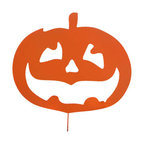 Rustica Ornamentals - Jack O Lantern Garden Stake - This custom designed hand painted Jack-o-lantern is a fantastic piece to add to your collection for Halloween. A classic favorite for any yard!