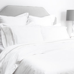 Crane & Canopy - White Linden Sham - Euro - The luxury is in the details, especially when inspired by the classic bedding found in the finest luxury hotels around the world. Woven from luxurious 400-thread count, single ply, 100% cotton with tailored 2 inch white borders, this irresistibly soft and beautiful duvet lends elegance to any room.