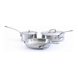 Mauviel M'cook Stainless Steel 5 Piece Cookware Set - The Mauviel M'cook 5 Piece Cookware Set offers professionals and household cooks the highest culinary technology. Five layers of materials provide perfect conductivity for each product thanks to fast and uniform heat distribution. The handles are made from cast stainless steel and reinforce the pure and modern design of this range. Each piece of Mauviel cookware is handcrafted in France. Set Includes 1.9 qt Saucepan with lid (5210.17) 1.9 qt Saucepan lid 3.4 qt Saute pan with helper handle (5211.25) 3.4 qt Saute pan lid 9.5 in Round Frying Pan / Skillet (5213.24)