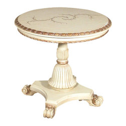 MBW Furniture - Antique Finish French Painted Round Occasional  Side End Table - This is a gorgeous antique finish French style reproduction painted occasional side end table. It features a gorgeous top surface that has a very attractive beveled edge with gilded fretwork and on top it has a very attractive painted foliage decorative design. Its apron also has gilded fretwork and it features a carved pedestal with a gilded ring. In addition it has a luxurious shaped beveled base with gorgeous scroll and foliage feet. Add a touch of elegance to your home decor with this beautiful piece of furniture!