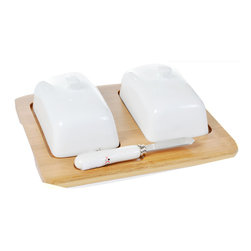 Concepts Life - Concepts Life Sumptuous Clarity Double Butter Dish with Butter Knife - Finally one dish for both butter and cream cheese! This bamboo butter dish will add style and convenience for your everyday dining as well as sophistication for family gatherings and holidays. The ceramic covers keep your butter and cream cheese fresh and the butter knife completes the set, making it an ideal house-warming gift.