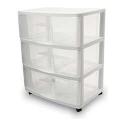 Home Products - Large 3 Drawer Cart by HOMZ - Our HOMZ Large Three Drawer Cart is ideal for general storage throughout the home. The clear drawers of the cart allows for easy viewing of contents.