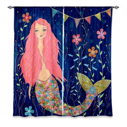 """DiaNoche Designs - Window Curtains Lined by Sascalia Pink Mermaid - DiaNoche Designs works with artists from around the world to print their stunning works to many unique home decor items.  Purchasing window curtains just got easier and better! Create a designer look to any of your living spaces with our decorative and unique """"Lined Window Curtains."""" Perfect for the living room, dining room or bedroom, these artistic curtains are an easy and inexpensive way to add color and style when decorating your home.  This is a woven poly material that filters outside light and creates a privacy barrier.  Each package includes two easy-to-hang, 3 inch diameter pole-pocket curtain panels.  The width listed is the total measurement of the two panels.  Curtain rod sold separately. Easy care, machine wash cold, tumble dry low, iron low if needed.  Printed in the USA."""