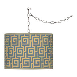 """Giclee Gallery - Asian Swag Style Greek Key Storm Giclee Plug-In Chandelier - Brushed silver finish. Custom-printed giclee shade. Greek Key Storm pattern. Swag style chandelier. Plug in - easy installation. Includes swag hooks and mounting hardware. Maximum 100 watt or equivalent bulb (not included). Shade is 13 1/2"""" wide 10"""" high. 15 feet of lead wire. 10 feet of chain.   Brushed silver finish.  Custom-printed giclee shade.  Greek Key Storm pattern.  Swag style chandelier.  Plug in - easy installation.  Includes swag hooks and mounting hardware.  Maximum 100 watt or equivalent bulb (not included).  Shade is 13 1/2"""" wide 10"""" high.  15 feet of lead wire.  10 feet of chain."""