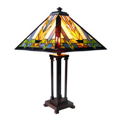 "25"" H Stained Glass Mission Style Santa Fe Table Lamp - The Santa Fe Collection features a darting arrow pattern that runs through the center of each side which is accompanied by two parallel beams.  The colors are traditional harvest colors.   The base is constructed with four studded columns and the rod through the center breaks the straight pattern with a bead medallion.  Features two pull chains."