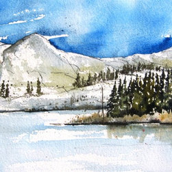 Water Dog Lake - Original Watercolor Painting - The Waterdog Lakes trail is a popular day hike near Salida , Colorado.  Located at the timberline this lovely spot is great for brook trout. Wildflowers are abundant during July and August.