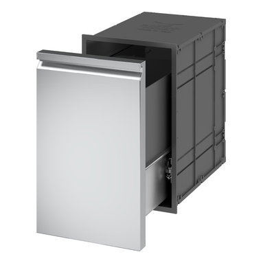 Ronda Distributed by Evo, Inc. - Ronda Pull-Out Trash Drawer - Enclosed drawers with front, watertight inside box and full length tracks completely made of AISI 304 Stainless Steel. External shell in composite material. Hermetic closure granted by a magnetic gasket. Equipped with two plastic trash containers with handles.