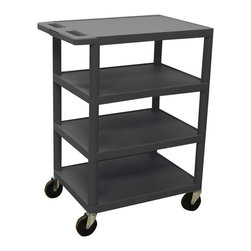 Luxor Furniture - Serving Cart w 4 Flat Shelves in Black - Includes 4 in. swivel casters. Two casters with locking brake. Multi-tiered and lightweight. Lip around back and sides of flat shelves. Push handle molded into the top shelf. 8.5 in. clearance between shelves. Made from high density polyethylene and plastic. Made in USA. Minimal assembly required. 24 in. W x 18 in. D x 36 in. H. Warranty
