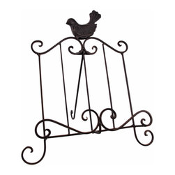 Zeckos - Wrought Iron Pheasant Cookbook Holder Easel Stand - This beautiful wrought iron pheasant motif cookbook holder is perfect for anyone who likes to cook from recipes in cookbooks or magazines. The bottom ridge keeps you on the correct page, so you can have windows open or fans turned on. The holder measures 13 1/2 inches tall, including the pheasant finial, and is 11 1/2 inches wide. It has an attached easel leg to keep the holder upright. It makes a great housewarming gift.
