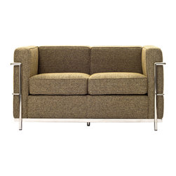 LexMod - Le Corbusier Style LC2 Loveseat in Oatmeal Wool - Urban life has always a quandary for designers. While the torrent of external stimuli surrounds, the designer is vested with the task of introducing calm to the scene. From out of the surging wave of progress, the most talented can fashion a force field of tranquility.