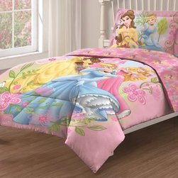 Disney - Disney Princess Royal Gardens Twin size 3-piece Comforter Set - Make your little girl feel like the princess that she is with this Disney Princess bedding set. Crafted with a pink ground,this charming Gardens comforter set features a convenient machine washable design.