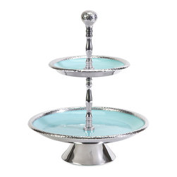 Donna Enamel Two-Tier Stand - This two-tier stand features a cast aluminum body and aqua enameled serving plates. Food safe.