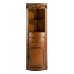 Home Decorators Collection - Chelsea Corner Linen Cabinet I - The design of our Chelsea Linen Cabinet is inspired by genuine antiques that have stood the test of time. It provides plenty of storage and display space with 2 open shelves, 1 cabinet and 3 drawers.This piece is expertly handcrafted of hardwood with beautiful detailing. Enhance your bath decor by purchasing one today!
