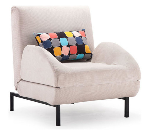 ZUO - Conic Arm Chair Sleeper - Cement Body & Color Block Back Cushion - Perfect for the guest room-slash-home office, the Conic Armchair Sleeper is the slickest seat-to-sleep setup you'll find. Features modern lines and a contrasting accent pillow. Comes in cement with a color block back cushion or cowboy blue with a shadow grid cushion.