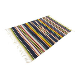 """Used Saltillo Serape w/Royal Blue Bands - This pre-1960s Saltillo serape throw has solid royal blue bands alternating with classic ombré stripes. Its versatile weight lends itself to use as a tablecloth, bed-cover, or throw. It has 6""""L fringe on each end. There are some minor spots and other wear, as to be expected for the age and use of this piece, and no maker's mark."""