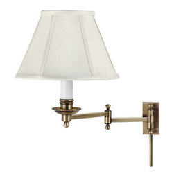 House of Troy - Library Swing Arm Wall Lamp - House of Troy LL660-AB - Antique Brass Finish with Shantung Shade. 13H x 10W x 11.5Deep. Takes one 60 watt Type A bulb (not included). Weight: 9 lbs. By House of Troy