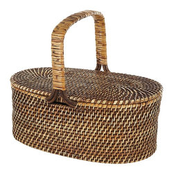 Eco Displayware - Oval Rattan Picnic Basket in Brown - Great for closet, bath, pantry, office or toy and game storage. Earth friendly. 22 in. L x 13 in. W x 8 in. H (8.32 lbs.)These natural colored baskets add warmth and charm and keep you organized.